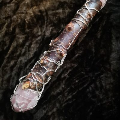 sacred blackthorn rose quartz wire wrapped wand
